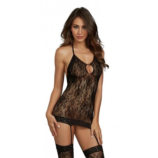Σέξι γυναικείο δαντελένιο Babydoll με ζαρτιέρες, κάλτσες
