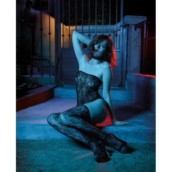 Σέξι δαντελένιο σετ κορμάκι-ζαρτιέρες-κάλτσες