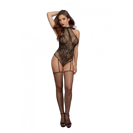 Σέξι γυναικείο κορμάκι με ζαρτιέρες και κάλτσες