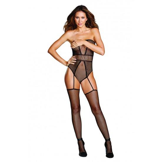 Σέξι στράπλες σετ κορμάκι-ζαρτιέρες-κάλτσες