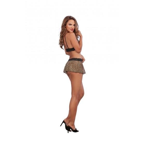 Σέξι λεοπάρ σετ bralette, G-string & skirt!