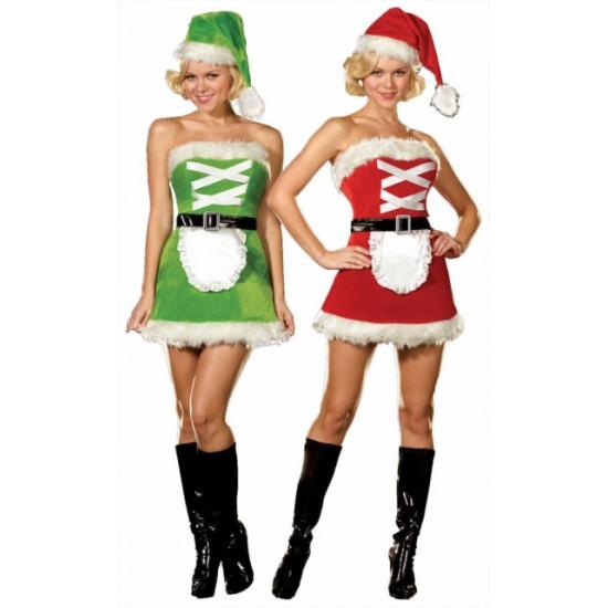 Χριστουγεννιάτικη γυναικεία στολή 3 τεμαχίων διπλής όψης