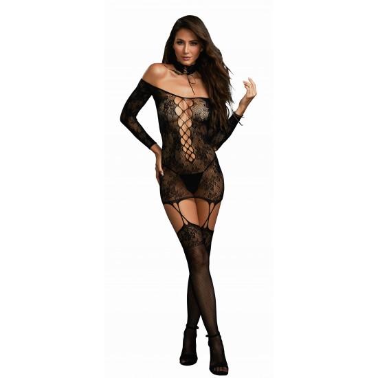 Σέξι δαντελένιο φόρεμα με ζαρτιέρες και κάλτσες