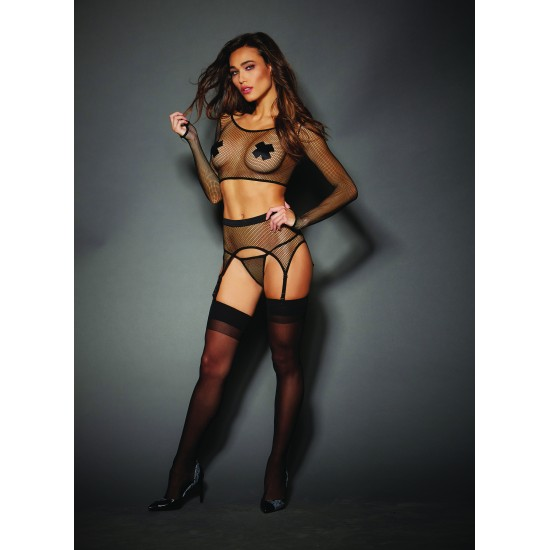 Γυναικείο σέξι διχτυωτό σετ 3 τεμαχίων