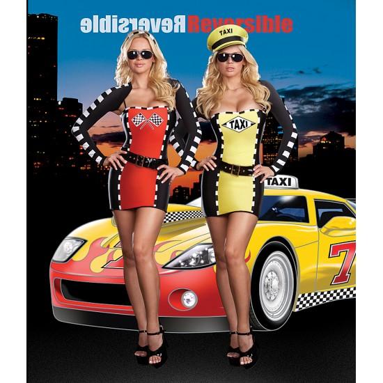 Σέξι γυναικεία στολή δύο όψεων οδηγός ράλι/ταξί